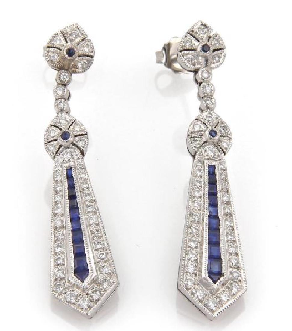 Vintage Diamond, Sapphire 18k Gold Dangle Earrings