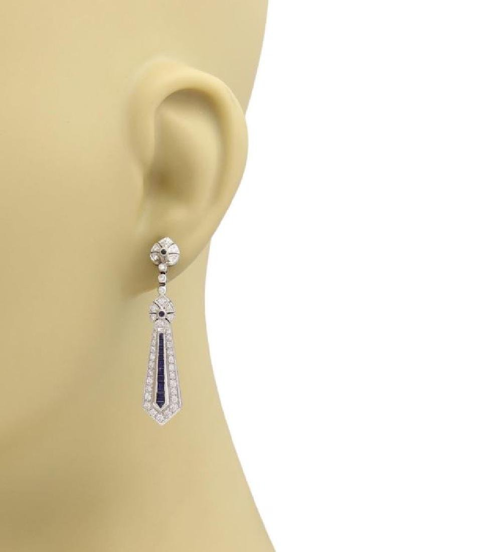 Vintage Diamond, Sapphire 18k Gold Dangle Earrings - 2