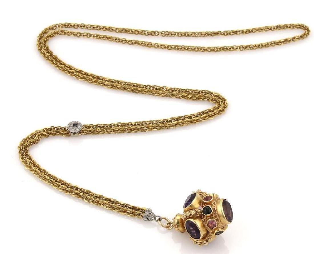 Diamond Gems 18k Gold Crown Pendant Necklace