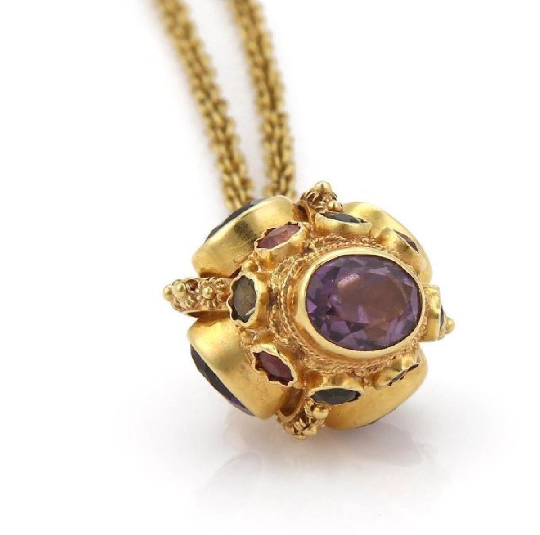 Diamond Gems 18k Gold Crown Pendant Necklace - 2
