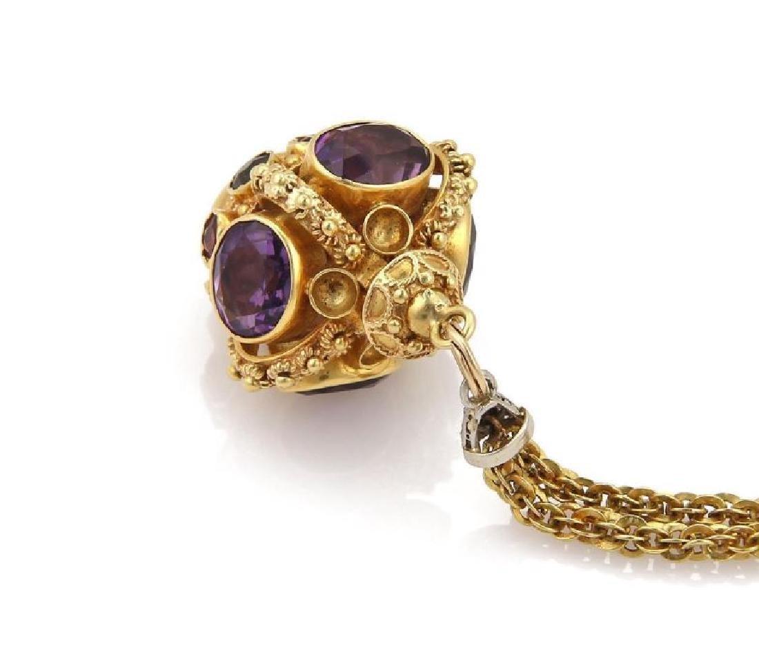 Diamond Gems 18k Gold Crown Pendant Necklace - 3