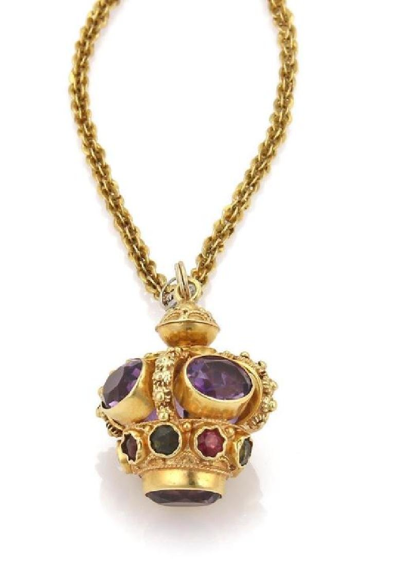 Diamond Gems 18k Gold Crown Pendant Necklace - 6