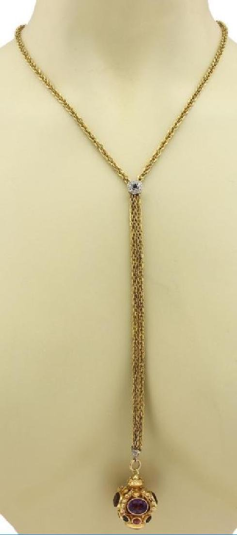 Diamond Gems 18k Gold Crown Pendant Necklace - 7