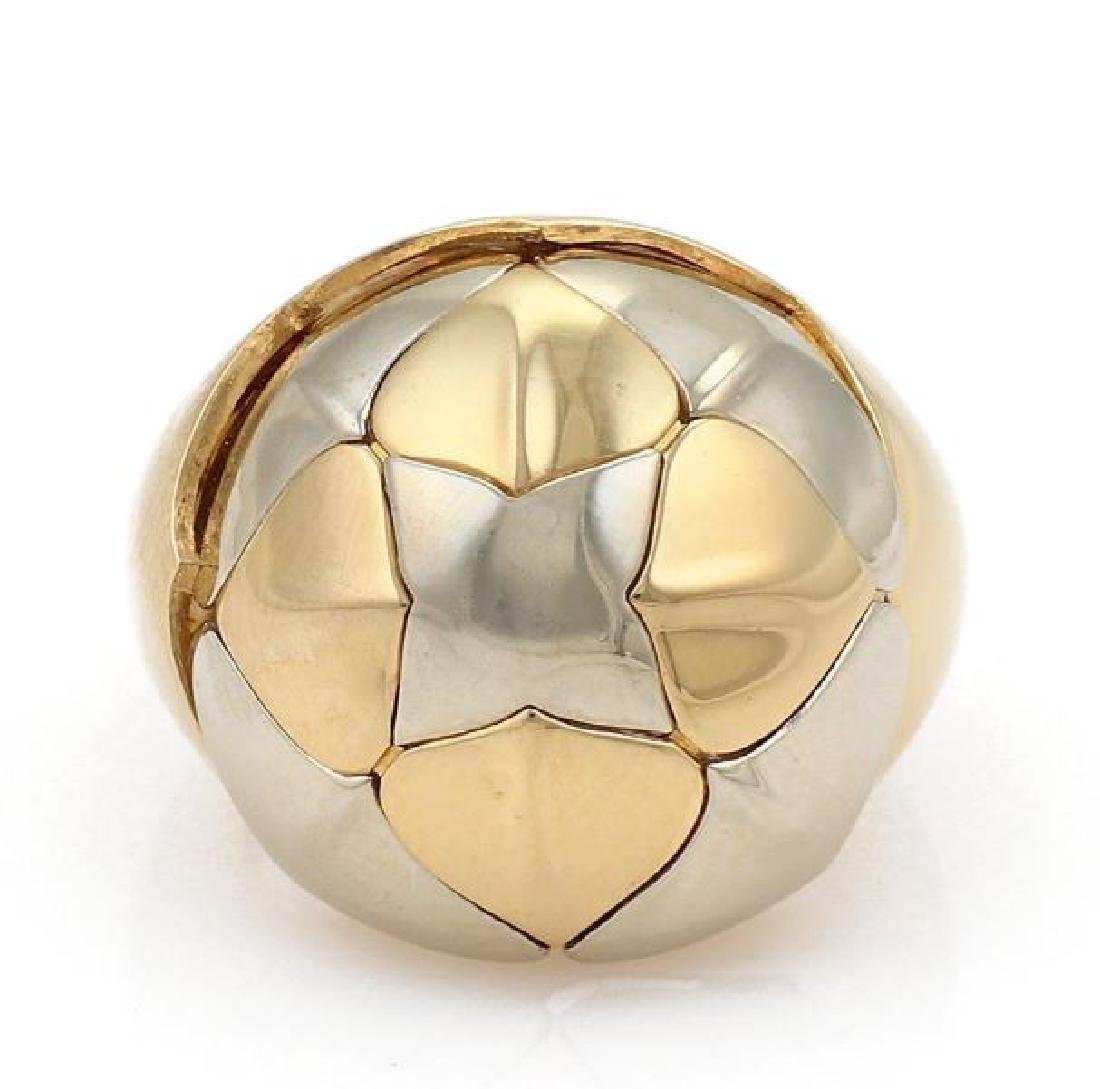 Bvlgari 18k Two Tone Gold Floral Dome Band Ring - 2