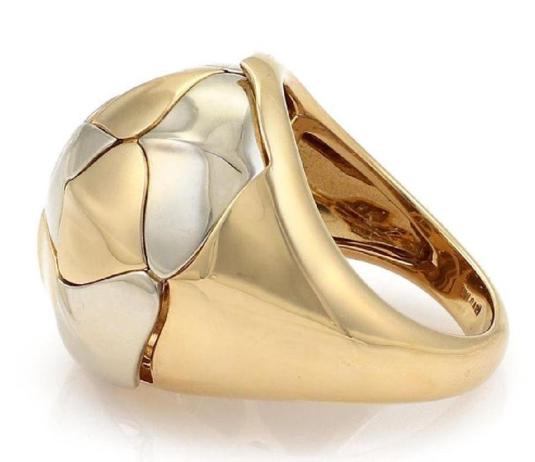 Bvlgari 18k Two Tone Gold Floral Dome Band Ring - 3