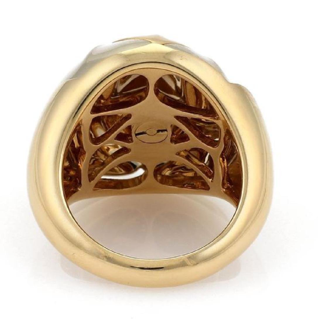 Bvlgari 18k Two Tone Gold Floral Dome Band Ring - 4