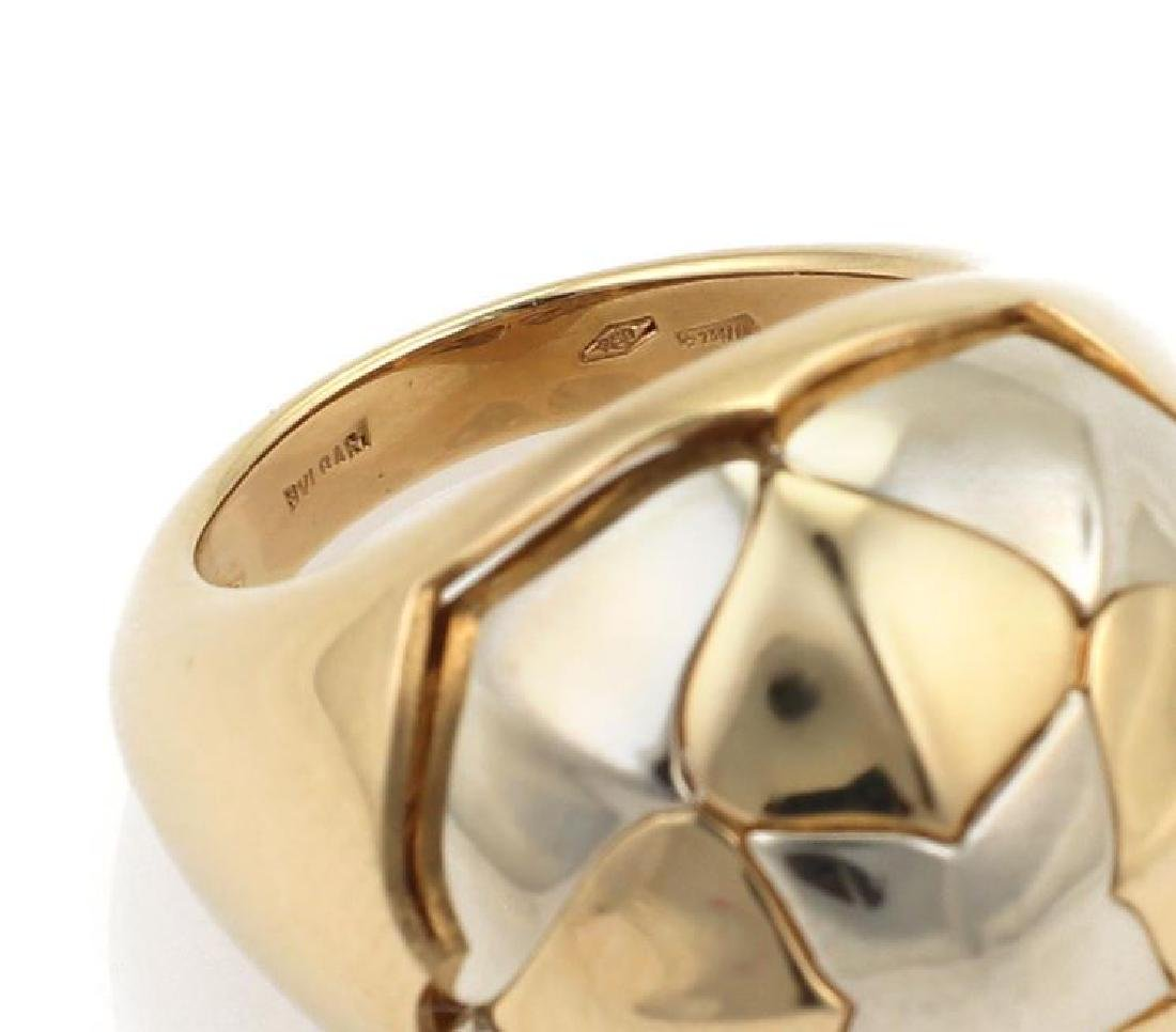 Bvlgari 18k Two Tone Gold Floral Dome Band Ring - 5