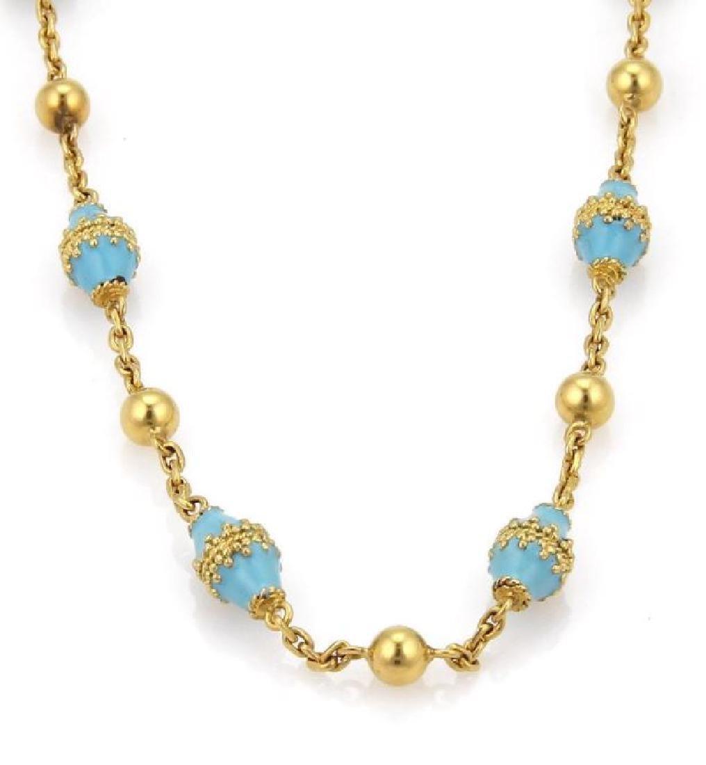 18k Gold Blue Enamel Rhombus & Bead Link Necklace
