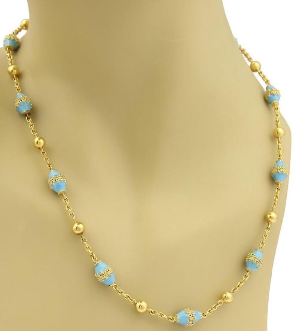 18k Gold Blue Enamel Rhombus & Bead Link Necklace - 2