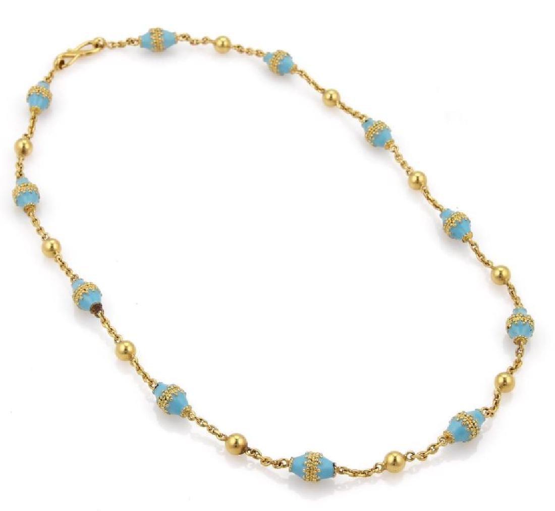 18k Gold Blue Enamel Rhombus & Bead Link Necklace - 3