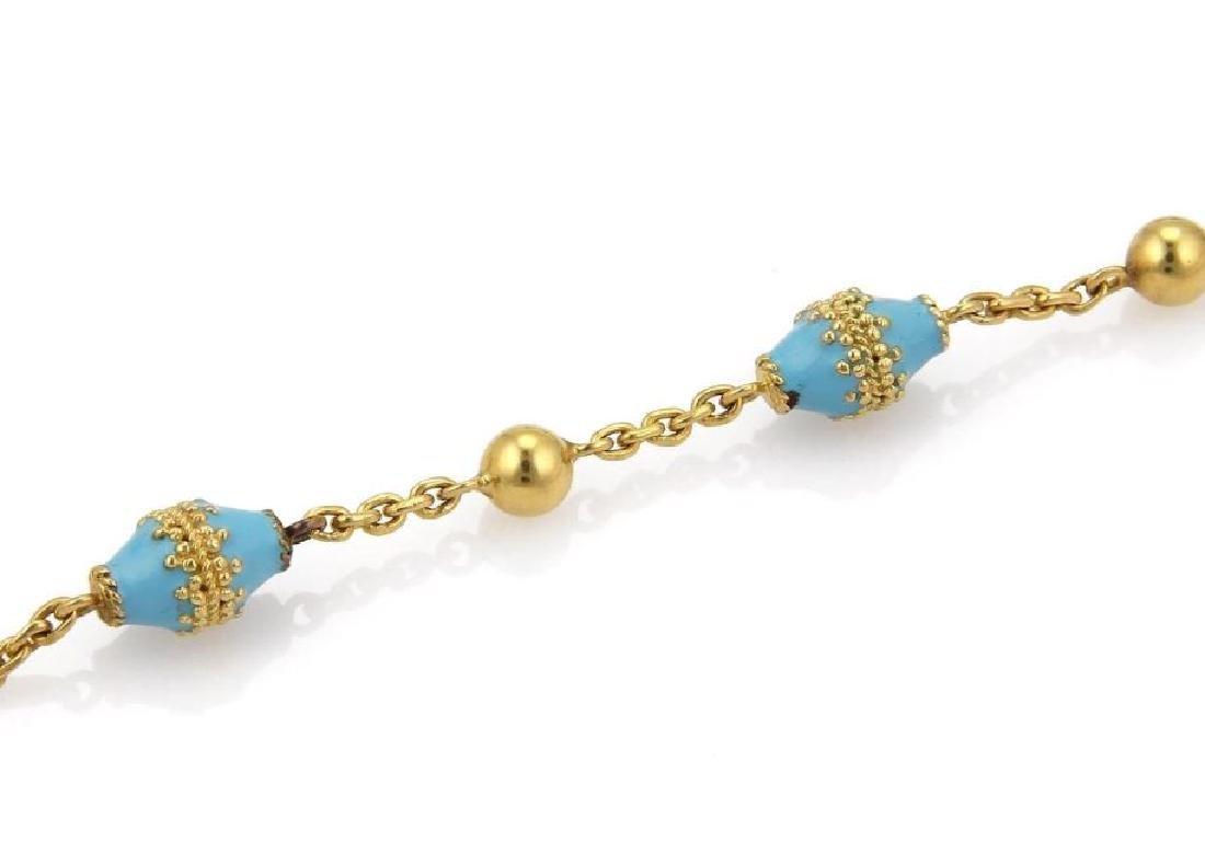 18k Gold Blue Enamel Rhombus & Bead Link Necklace - 4
