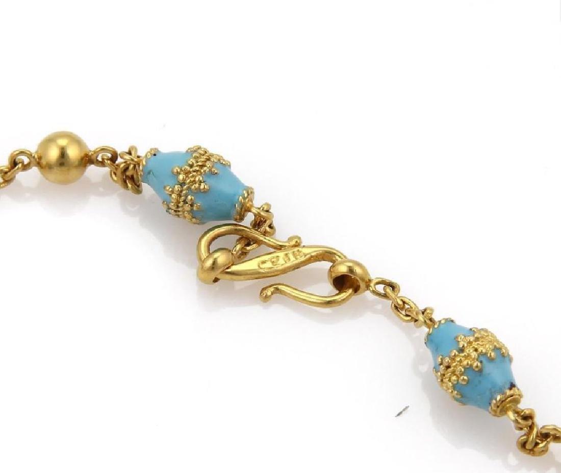 18k Gold Blue Enamel Rhombus & Bead Link Necklace - 6
