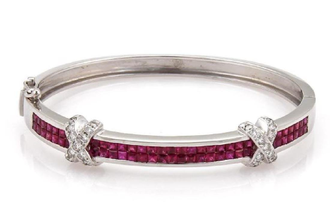 18k Gold Diamond & Ruby X Design Bangle Bracelet