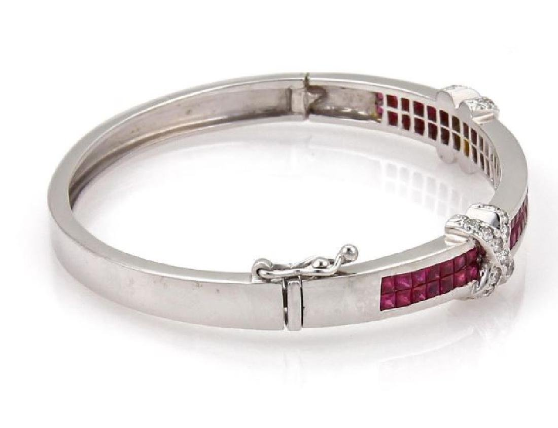 18k Gold Diamond & Ruby X Design Bangle Bracelet - 2