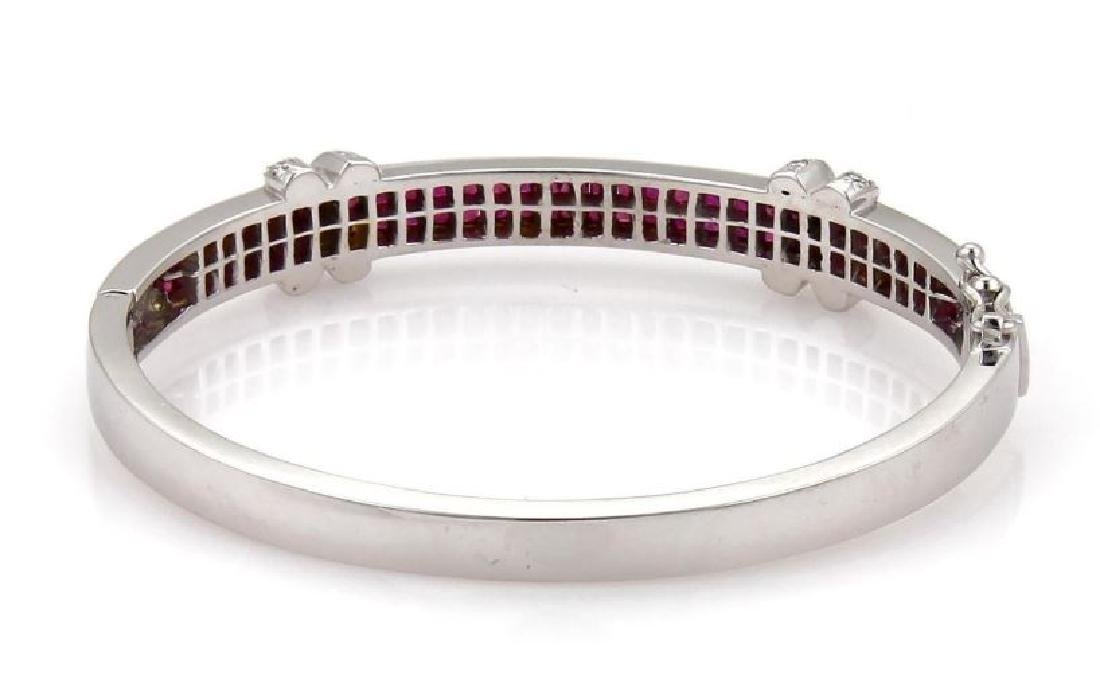 18k Gold Diamond & Ruby X Design Bangle Bracelet - 3