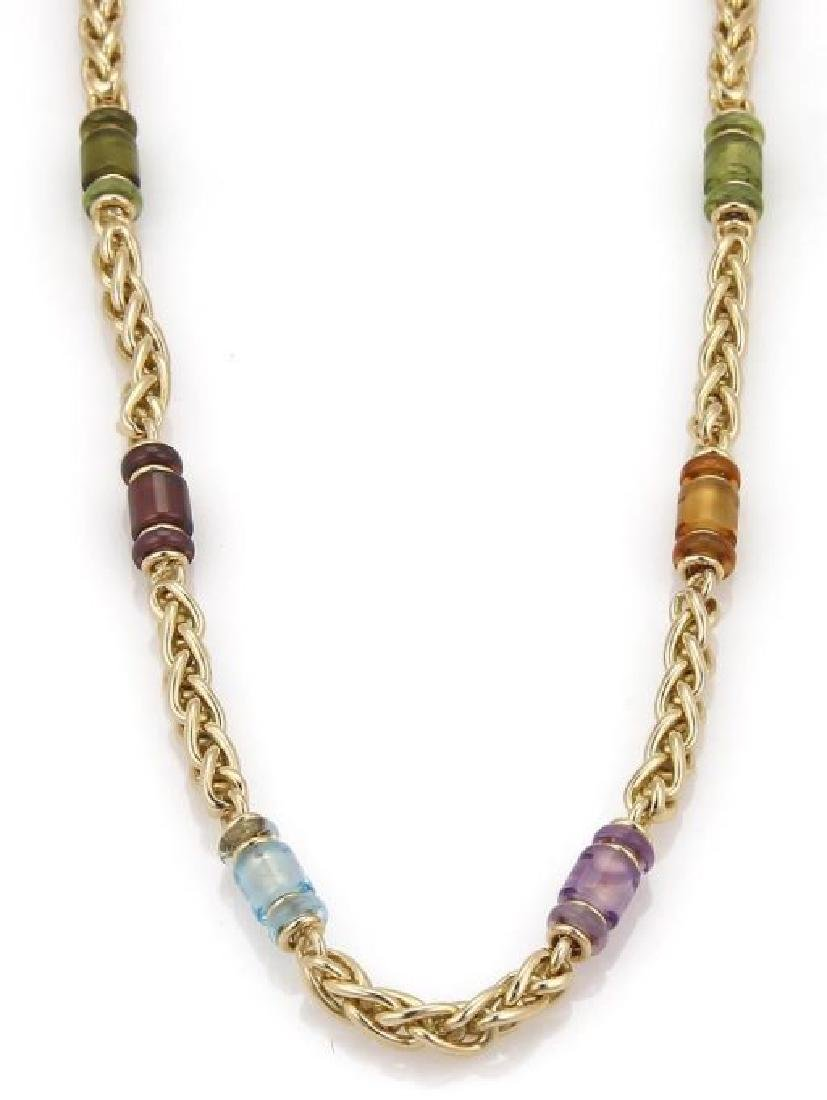 Bvlgari Gemstone 18k Gold Woven Chain Necklace