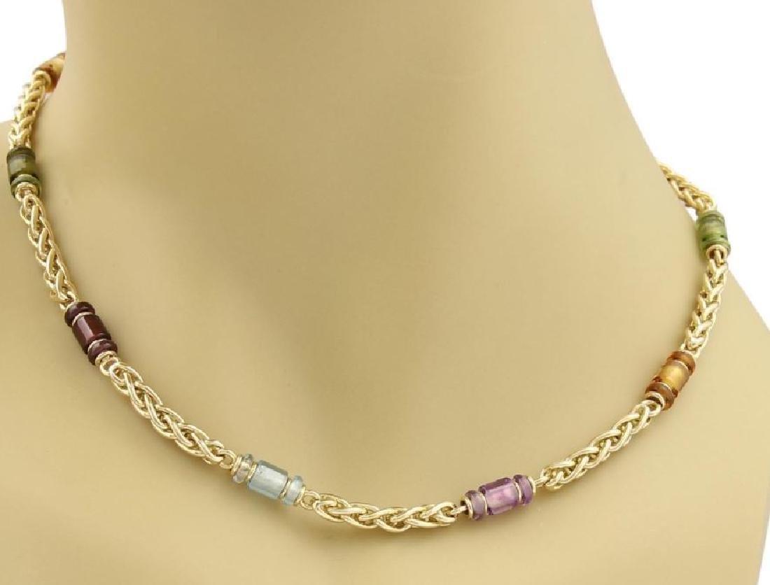 Bvlgari Gemstone 18k Gold Woven Chain Necklace - 2