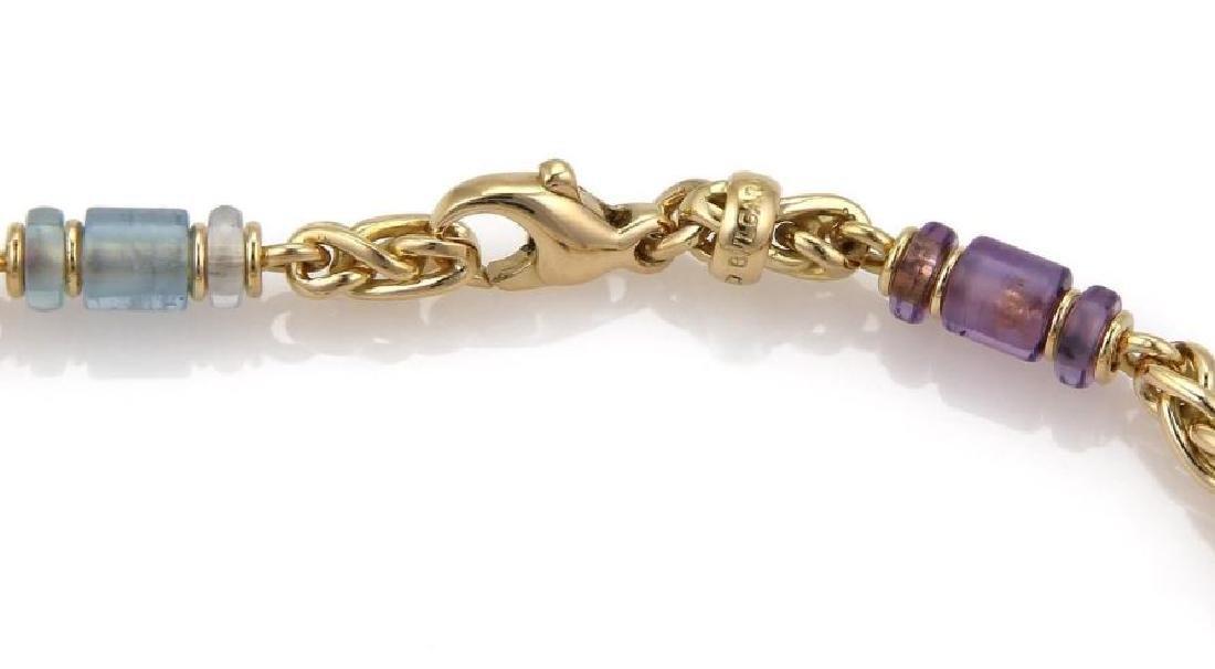 Bvlgari Gemstone 18k Gold Woven Chain Necklace - 6