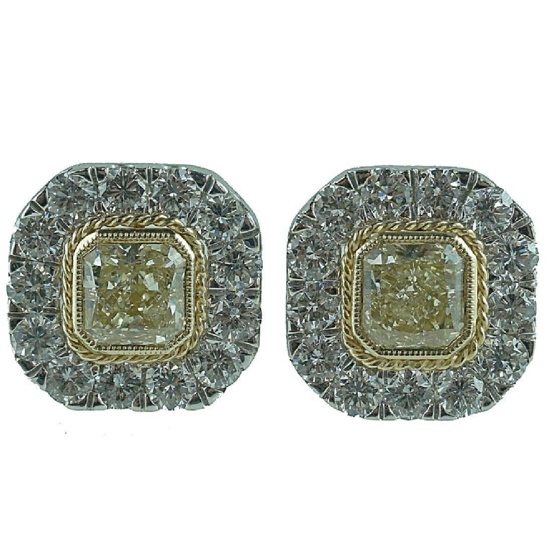 18 Karat Fancy Yellow & White Diamond Earrings.