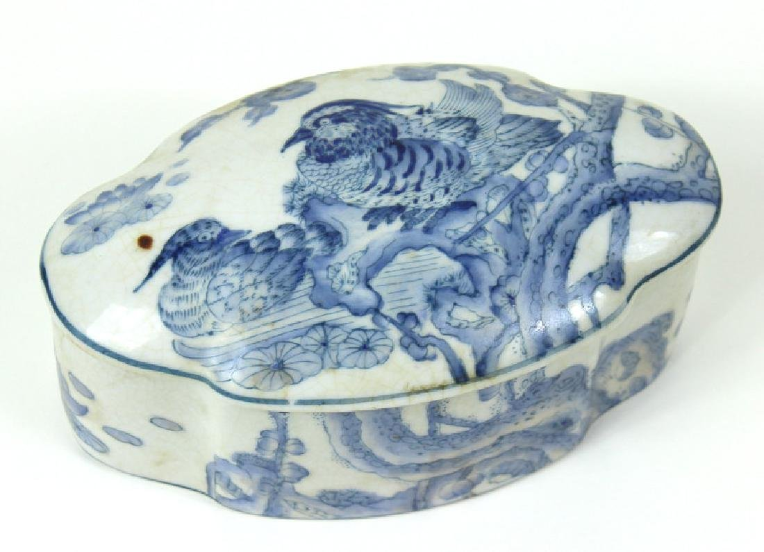 Chinese White + Blue Porcelain Bird Covered Jar.