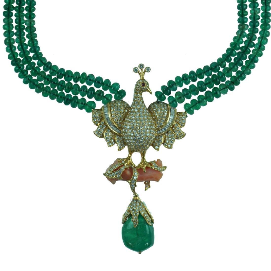 Contemporary Emerald & Diamond Peacock Necklace