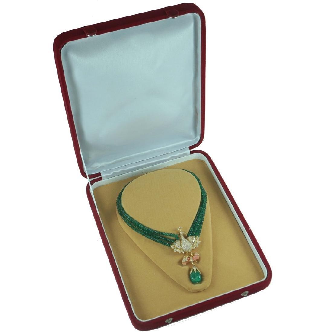 Contemporary Emerald & Diamond Peacock Necklace - 2