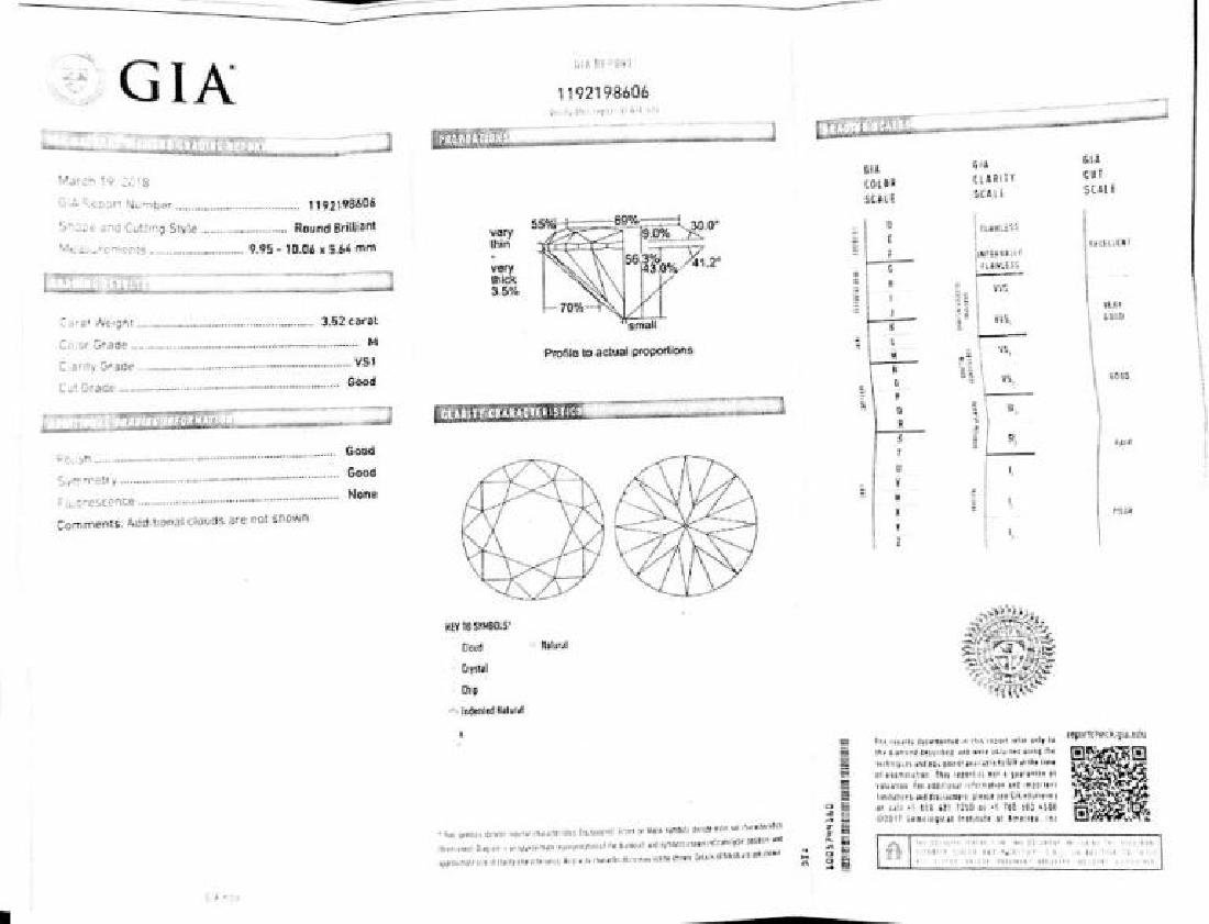 GIA Certified, 3.52 VS1/M Engagement Ring. - 3