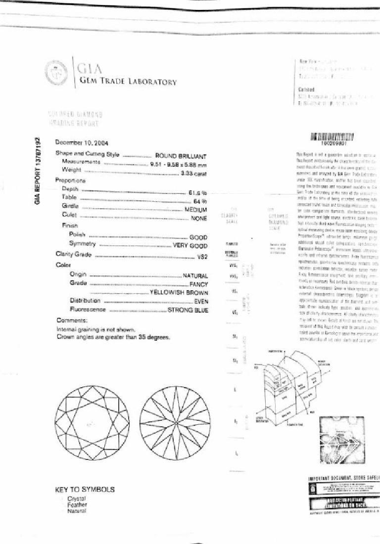 GIA Certified, 3.33 Fancy Yellowish Brown Diamond - 3