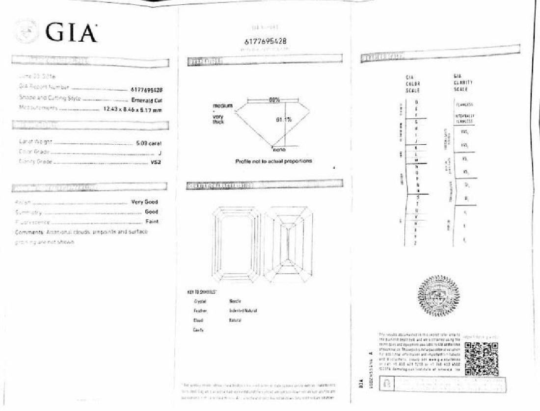 GIA certified, 5.03 Carat VS2/J Engagement Ring - 4