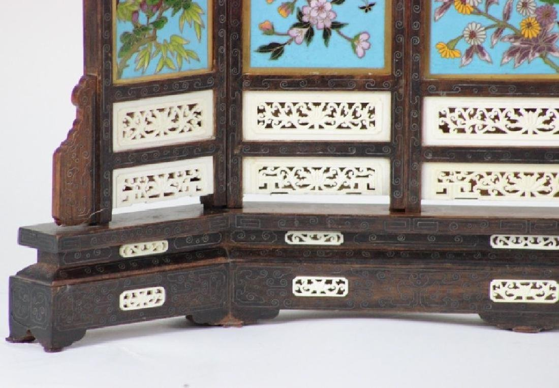 Chinese Cloisonne Inlaid 5 Panel Table Screen - 2