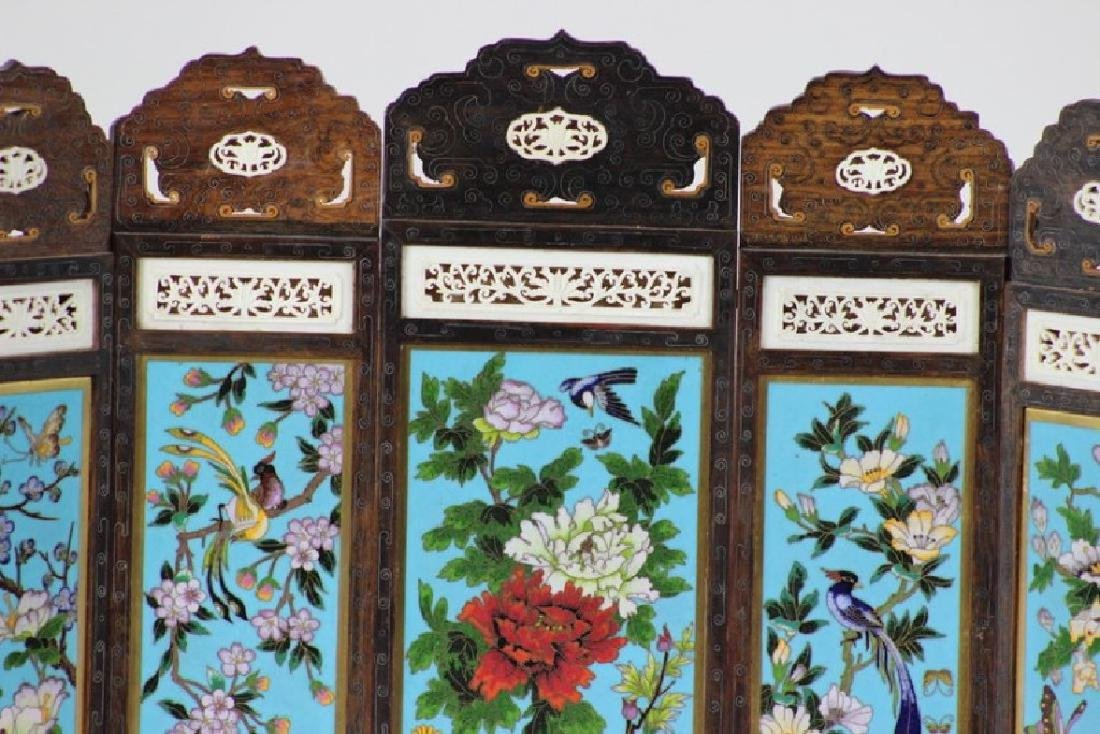 Chinese Cloisonne Inlaid 5 Panel Table Screen - 4