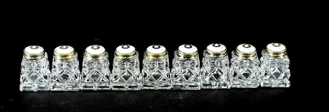 9) Nine Crystal Salt Shakers with Sterling Tops