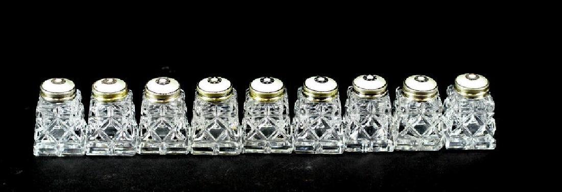 9) Nine Crystal Salt Shakers with Sterling Tops
