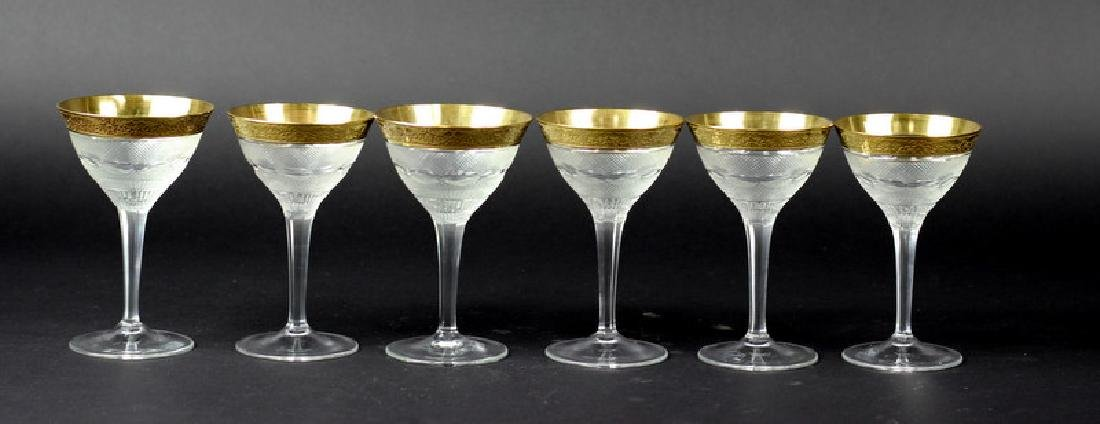 6 Gilt Hand Painted Moser Glasses