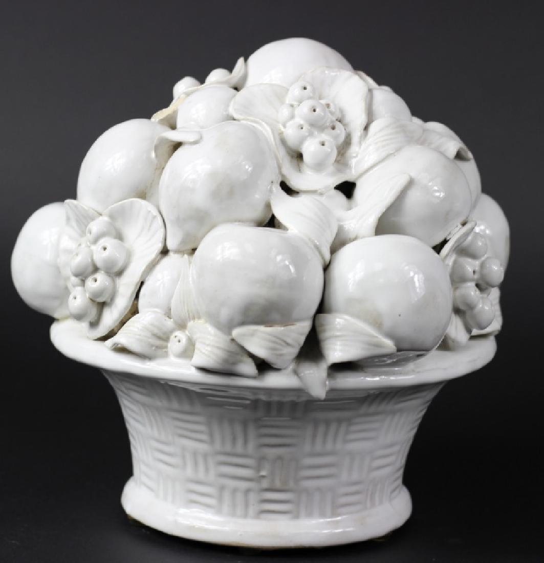 LRG Italian White Glazed Terra Cotta Fruit Basket