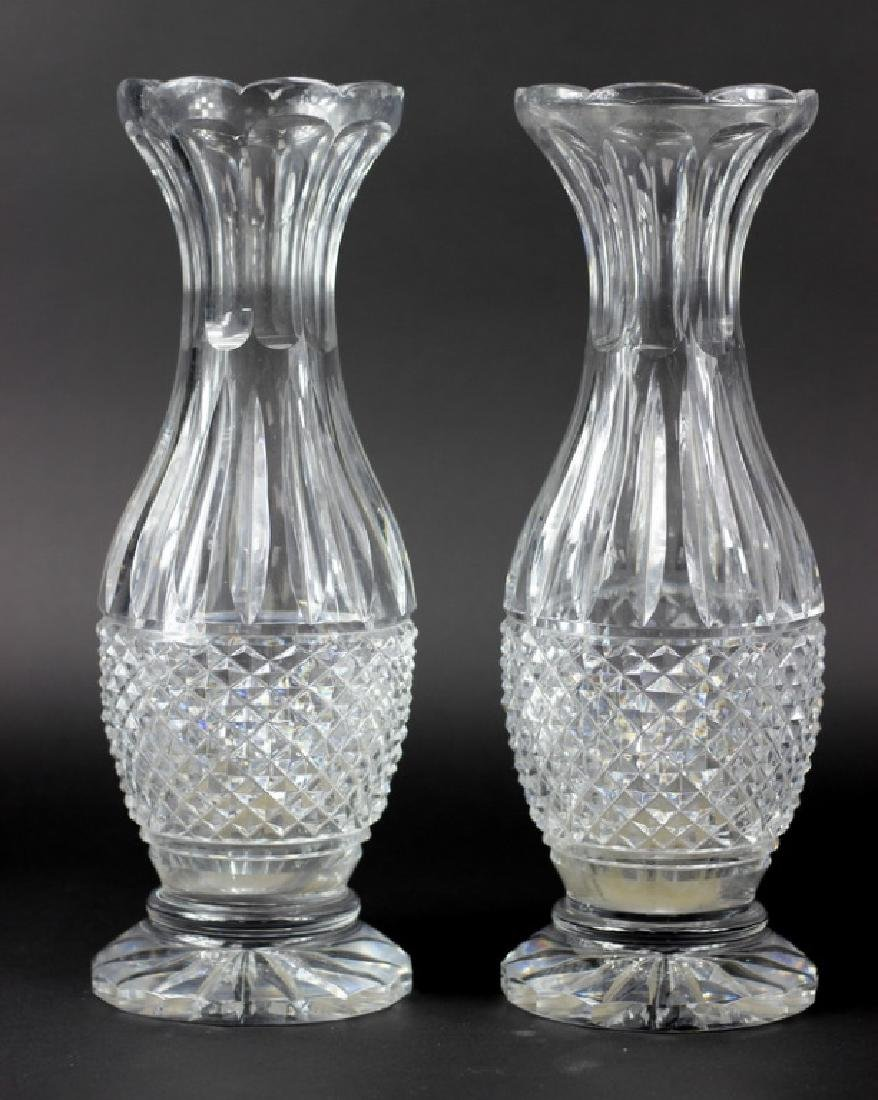 Pair of Waterford Style Large Cut Crystal Vase