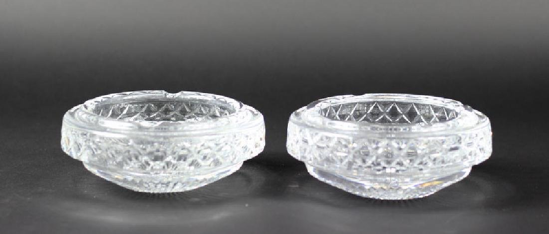 Pair of Waterford Style Cut Crystal Ashtrays