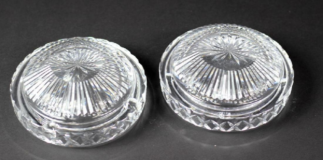 Pair of Waterford Style Cut Crystal Ashtrays - 3