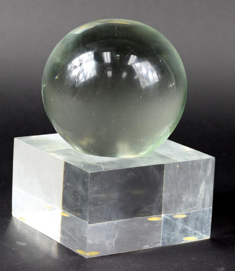 Abstract Lucite Spherical Sculpture On Stand