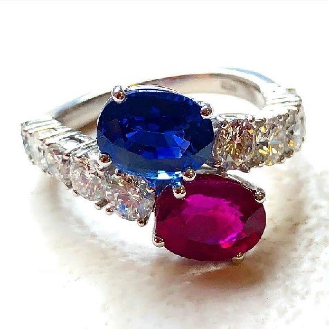Estate Ceylon Sapphire and Burmese Ruby Ring