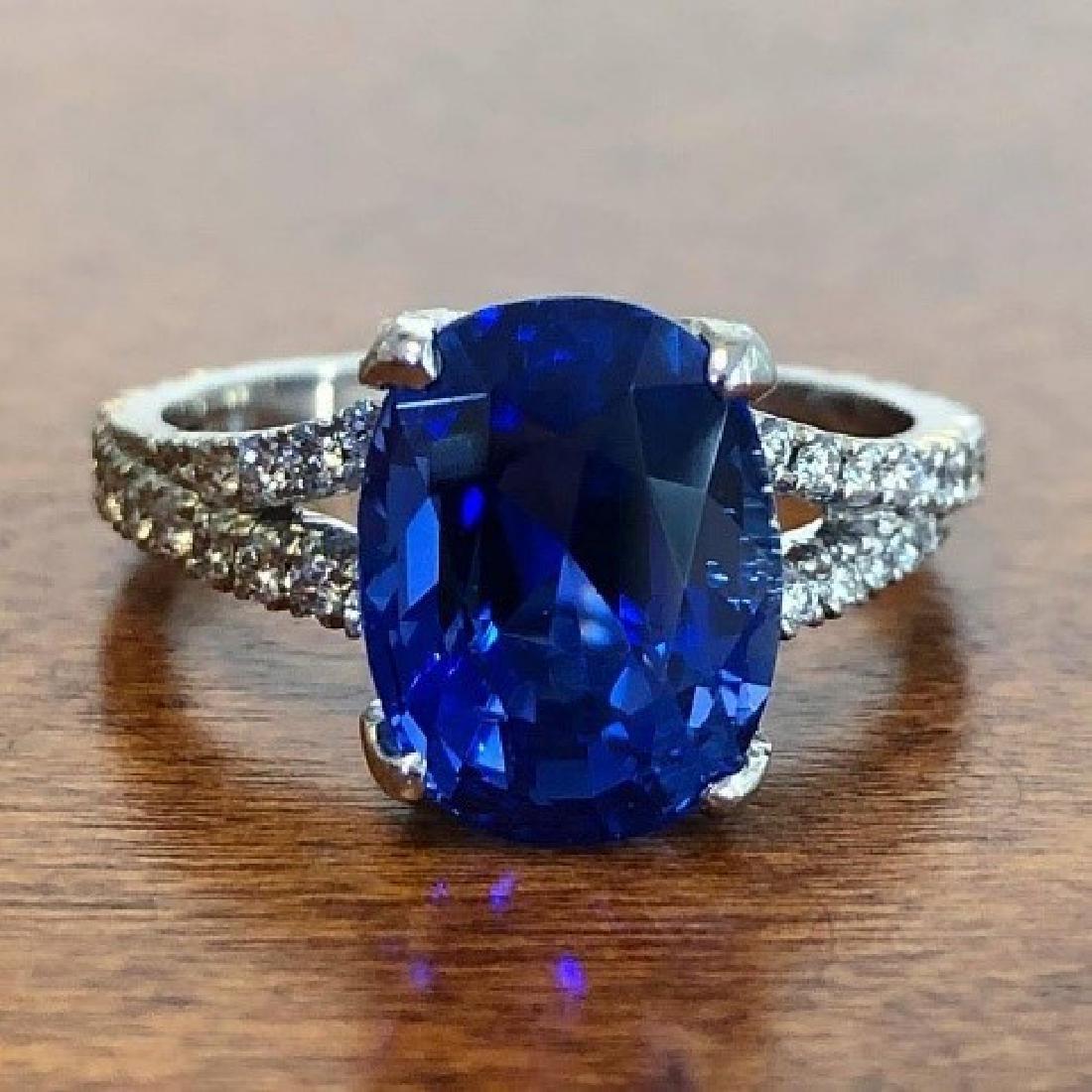Carvin French Ceylon Sapphire Diamond Ring