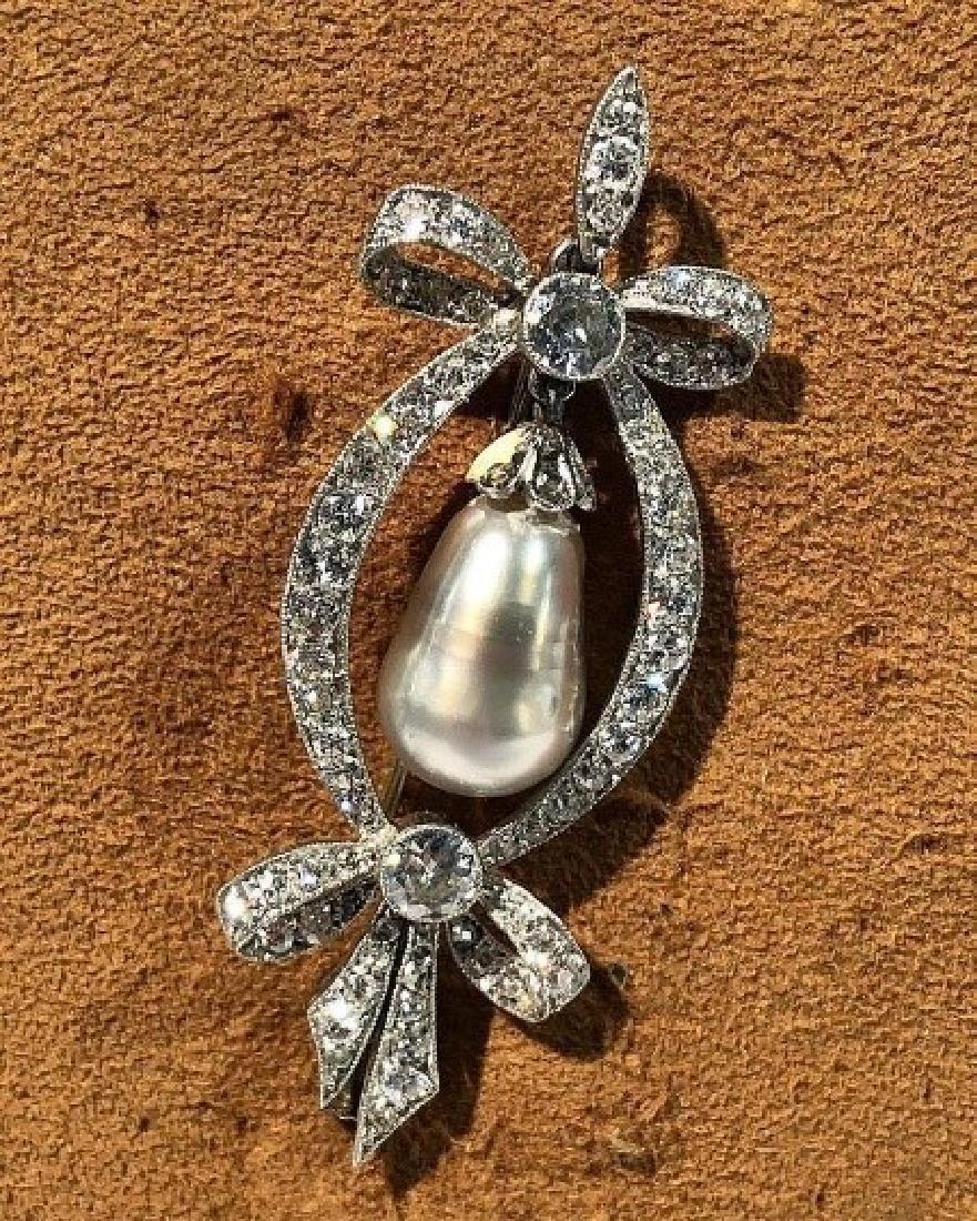 Antique Edwardian platinum diamond and natural pea