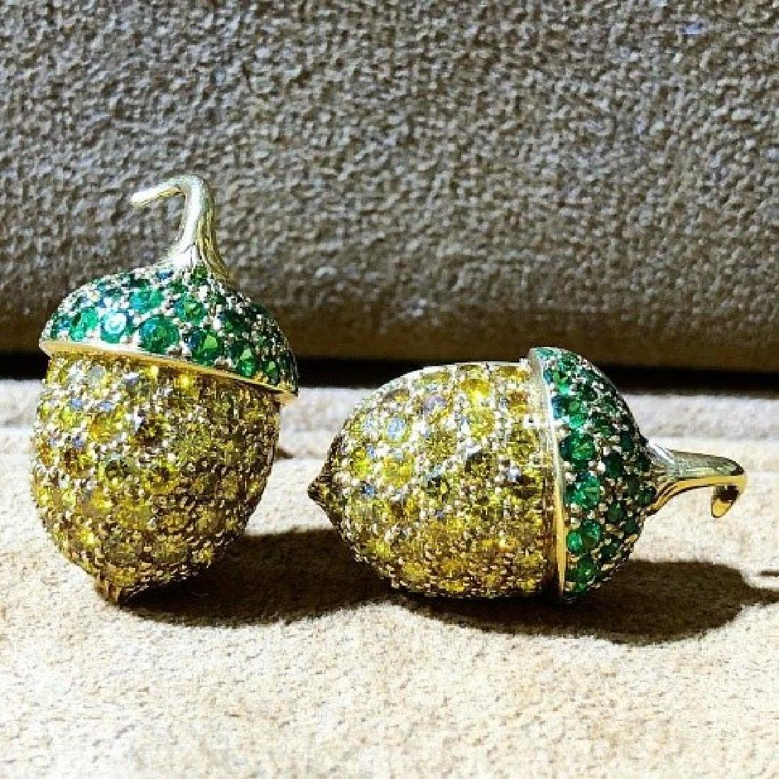 Carvin French Diamond and Tsavorite Garnet Earring