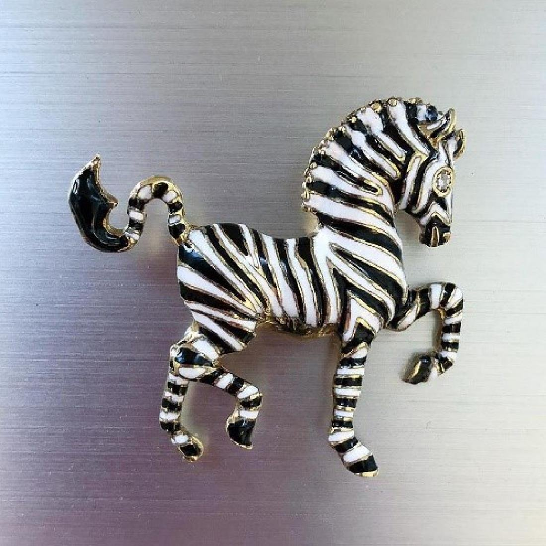 Circa 1970s Signed Martine Zebra Brooch