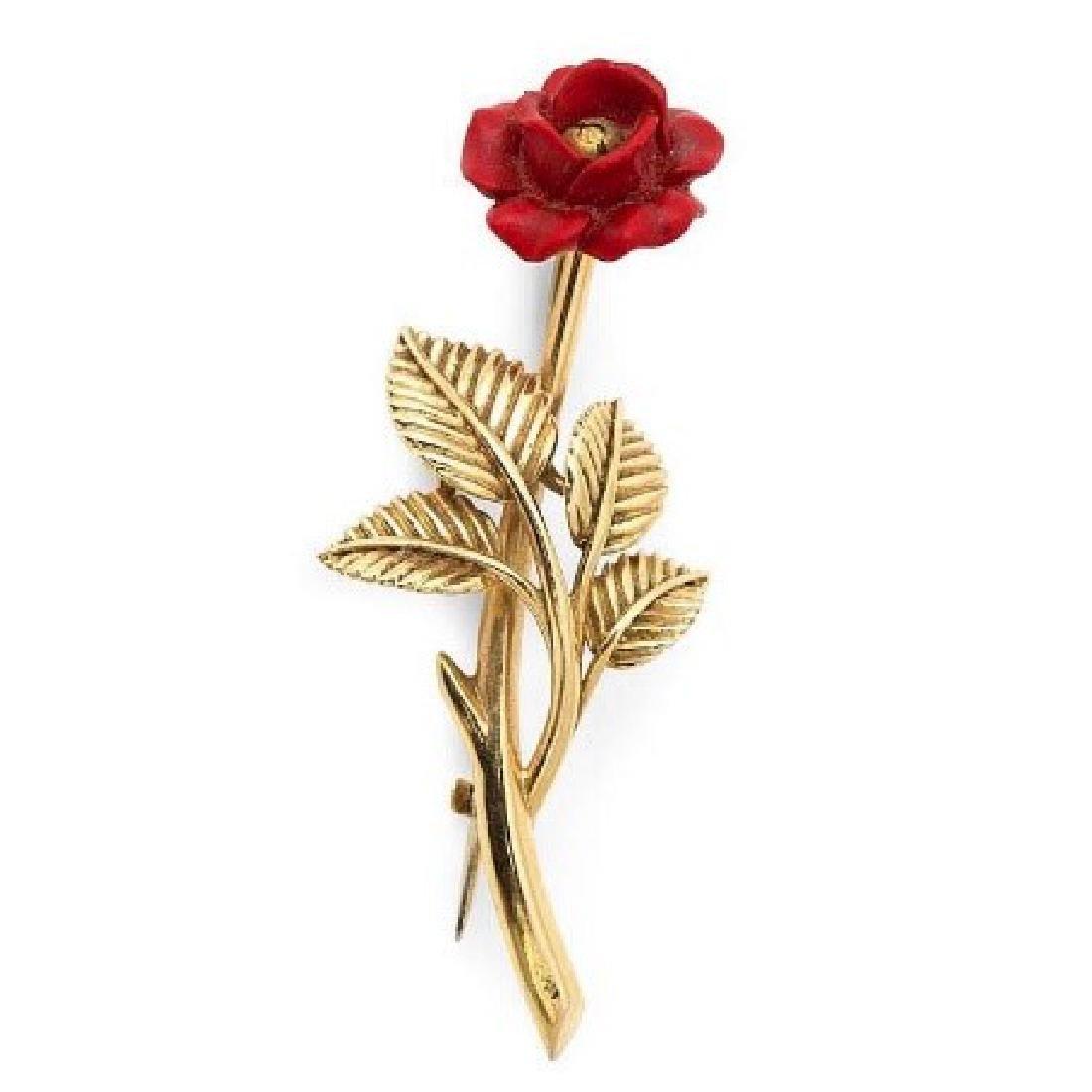 Fred Paris Oxblood Coral Rose Pin