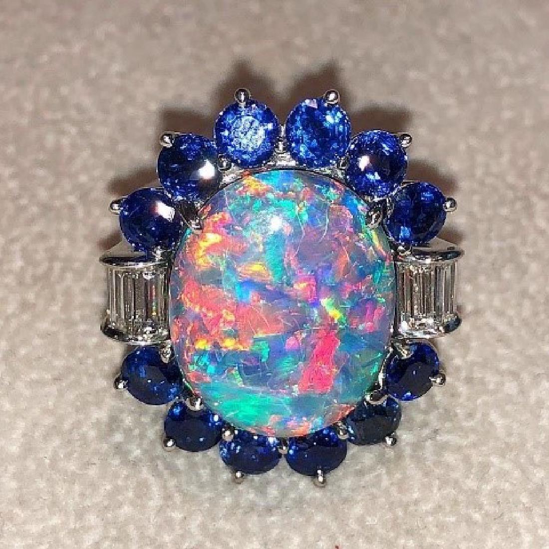 Rare Black Opal Diamond & Sapphire Ring.