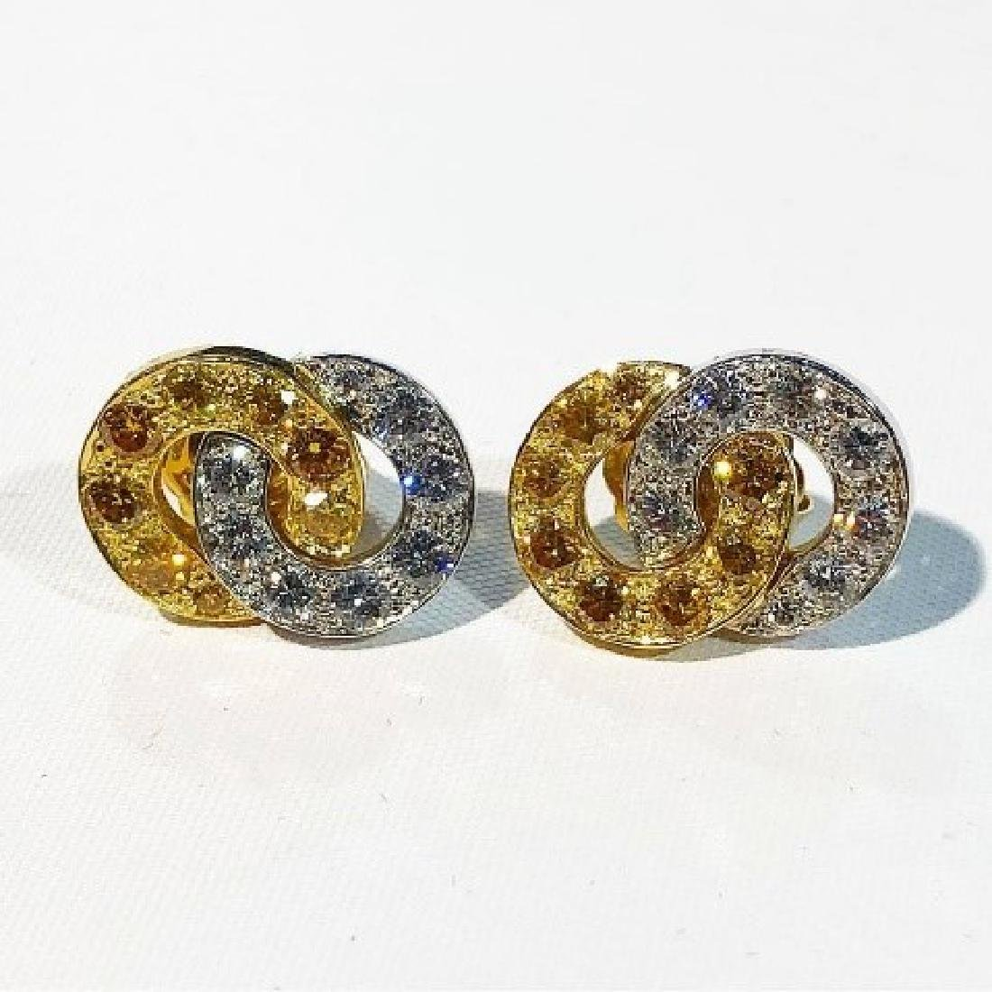 Carvin French Yellow & Colorless Diamond Earring