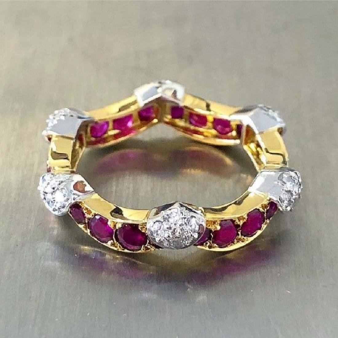 Carvin French Diamond & Ruby Eternity Ring