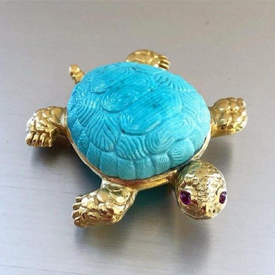 Carvin French Turquoise & Ruby Turtle brooch