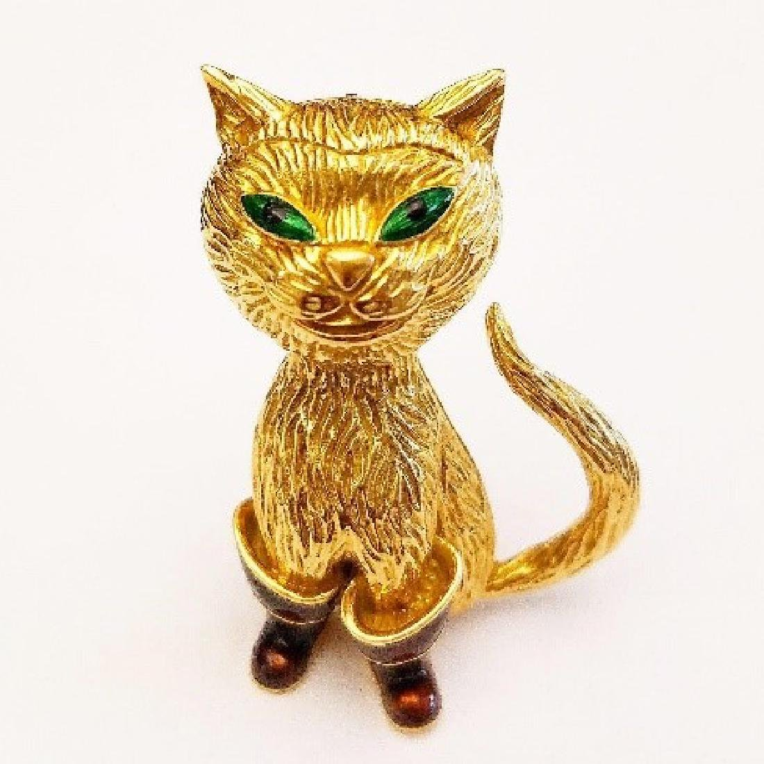 """Carvin French """"Puss in Boots"""" Brooch"""
